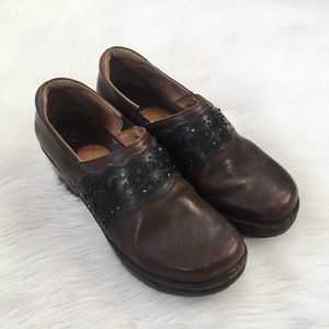 Ariat Brown Leather Laser Cut Clog Shoes
